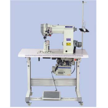 SINGLE NEEDLE DRIVEN ROLLER POST-BED LOCKSTITCH SEWING MACHINE WITH AUTOMATIC THREAD TRIMMER AND BAC