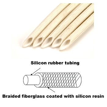 Silicon Rubber Tubing braided with Fiberglass