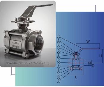 三片式全流量雙內螺紋316不鏽鋼球閥( PT / NPT / BSP )/三片式全流量套焊型316不鏽鋼球閥,附ISO 5211 驅動平台