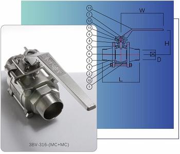 三片式全流量雙外螺紋316不鏽鋼球閥 (PT/NPT),附 ISO 5211 驅動平台