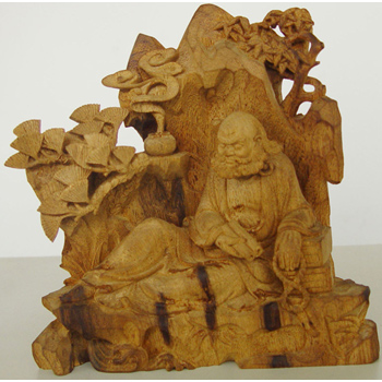 檀沉香木雕藝典藏-4.5寸達摩大師